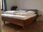 Bed, oak, custom cushion