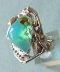 Bague argent avec Opale du Pérou