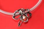 Pendentif argent avec perle rose et diamant