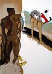 MAPPE - BEGEGNUNGEN 3 Radierungen mit partieller chin.Kaschierung Auflage 70 + 7 E.A. Druck: Atelier Erbler Atelier Edition, DAS ERSTE MAL