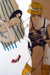MAPPE - BEGEGNUNGEN 3 Radierungen mit partieller chin.Kaschierung Auflage 70 + 7 E.A. Druck: Atelier Erbler Atelier Edition, DER BESUCH