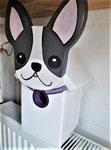 Houten Nestkastje Hond, zwart-wit, Details, Vogelhuisje bouwen, voorkant, eindresultaat, zijkant