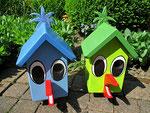 """Houten Nestkastje , """"Nestkastjes in vorm van Vogel groen en blauw, Details, Vogelhuisje bouwen als Vogel, voorkant"""