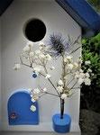 """Houten Nestkastje , """"Nestkastje in Grieks blauw, Details, Vogelhuisje bouwen , vogelhuisje in Grieks blauw, Huisjes details_14"""