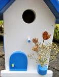 """Houten Nestkastje , """"Nestkastje in Grieks blauw, Details, Vogelhuisje bouwen , vogelhuisje in Grieks blauw, Huisjes details_2"""