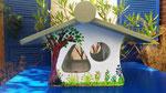 houten voederhuis beschilderd zomer uniek cadeau vogelhuis