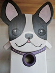 Houten Nestkastje Hond, zwart-wit, Details, Vogelhuisje bouwen, voorkant, kop