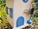 """Houten Nestkastje , """"Nestkastje in Grieks blauw, Details, Vogelhuisje bouwen , vogelhuisje in Grieks blauw, Huisjes details_12"""