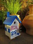"""Houten Nestkastje , """"Nestkastje met Grieks Bistrootje , Details, Vogelhuisje bouwen , vogelhuisje met Grieks Bistrootje, Huisjes details_17"""