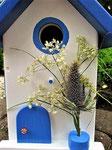 """Houten Nestkastje , """"Nestkastje in Grieks blauw, Details, Vogelhuisje bouwen , vogelhuisje in Grieks blauw, Huisjes details_17"""