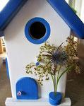 """Houten Nestkastje , """"Nestkastje in Grieks blauw, Details, Vogelhuisje bouwen , vogelhuisje in Grieks blauw, Huisjes details_11"""