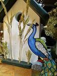 Houten Nestkastje, Nestkastje met Pauw, Details, Vogelhuisje bouwen ,  vogelhuisje met pauw_8