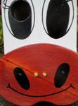 """Houten Nestkastje , """"De Koe, wit-bruin"""", Details, Vogelhuisje bouwen, ogen en snoet_3"""