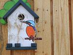 Houten Nestkastje, Nestkastje met IJsvogel, Details, Vogelhuisje bouwen ,  vogelhuisje met ijsvogel