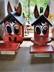 """Houten Nestkastje , """"Nestkastjes in vorm van Paard , Details, Vogelhuisje bouwen , twee paarden-vogelhuisjes"""