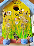 Houten Nestkastje voor Pindakaas pot , Nestkastje, thema, Bijen,Vogelhuisje bouwen, vogelhuisje pindakaas pot , bijen-huisje_8