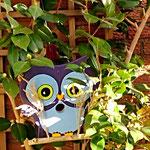 """Houten Nestkastje , """"Nestkastjes in vorm van een Uil, Details, Vogelhuisje bouwen ,  vogelhuisje Uil eindresultaat in struik"""