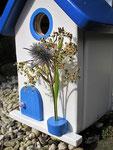 """Houten Nestkastje , """"Nestkastje in Grieks blauw, Details, Vogelhuisje bouwen , vogelhuisje in Grieks blauw, Huisjes details_10"""