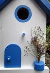 """Houten Nestkastje , """"Nestkastje in Grieks blauw, Details, Vogelhuisje bouwen , vogelhuisje in Grieks blauw, Huisjes details_5"""