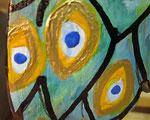 Houten Nestkastje, Nestkastje met Pauw, Details, Vogelhuisje bouwen ,  vogelhuisje met pauw_1