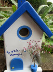Houten Nestkastje , Grieks Nestkastje met Tekst , Details, Vogelhuisje bouwen ,  Grieks vogelhuisje met tekst , Huisjes details_6