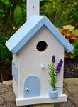 """Houten Nestkastje , """"Nestkastjes in Grieks stijl, Details, Vogelhuisje bouwen ,  vogelhuisje in Grieks e stijl, lichtblauw"""