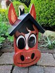 """Houten Nestkastje , """"Nestkastjes in vorm van Paard , Details, Vogelhuisje bouwen , de voorkant"""
