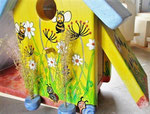 Houten Nestkastje voor Pindakaas pot , Nestkastje, thema, Bijen,Vogelhuisje bouwen, vogelhuisje pindakaas pot , bijen-huisje_16