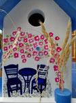 """Houten Nestkastje , """"Nestkastje met Grieks Bistrootje , Details, Vogelhuisje bouwen , vogelhuisje met Grieks Bistrootje, Huisjes details_14"""