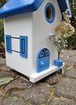"""Houten Nestkastje , """"Nestkastjes in Grieks stijl, Details, Vogelhuisje bouwen ,  zijkant vogelhuisje in Grieks e stijl, lichtblauw model 3"""