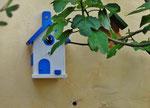 "Houten Nestkastje , ""Nestkastje in Grieks blauw, Details, Vogelhuisje bouwen , vogelhuisje in Grieks blauw, Huisjes details, vlieggat bezet_2"