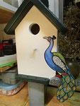 Houten Nestkastje, Nestkastje met Pauw, Details, Vogelhuisje bouwen ,  vogelhuisje met pauw_6