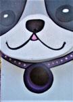 Houten Nestkastje Hond, zwart-wit, Details, Vogelhuisje bouwen, voorkant, kop met halsband