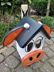 "Houten Nestkastje , ""De Koe, wit-bruin"", Details, Vogelhuisje bouwen, vogelhuisje koe bovenaanzicht"