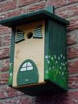 Houten Nestkastje, Nestkastje woudgroen met plat Dak, Details, Vogelhuisje bouwen, vogelhuisje woudgroen met plat dak_5