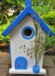 """Houten Nestkastje , """"Nestkastje in Grieks blauw, Details, Vogelhuisje bouwen , vogelhuisje in Grieks blauw, Huisjes details_15"""