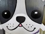 Houten Nestkastje Hond, zwart-wit, Details, Vogelhuisje bouwen, voorkant, eindresultaat, snoet