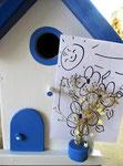 """Houten Nestkastje , """"Nestkastje in Grieks blauw, Details, Vogelhuisje bouwen , vogelhuisje in Grieks blauw, Huisjes details_4"""