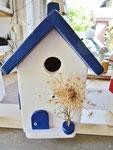 """Houten Nestkastje , """"Nestkastje in Grieks blauw, Details, Vogelhuisje bouwen , vogelhuisje in Grieks blauw, Huisjes details_1"""