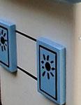 Houten Nestkastje,  Deuren en Ramen Grieks Nestkastje , Details, Vogelhuisje bouwen ,  deuren en ramen Grieks vogelhuisje _21