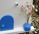 """Houten Nestkastje , """"Nestkastje in Grieks blauw, Details, Vogelhuisje bouwen , vogelhuisje in Grieks blauw, Huisjes details_7"""