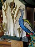 Houten Nestkastje, Nestkastje met Pauw, Details, Vogelhuisje bouwen ,  vogelhuisje met pauw_14