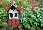 "Houten Nestkastje , ""De Koe, wit-bruin"", Details, Vogelhuisje bouwen, eindresultaat_6"