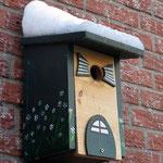 Houten Nestkastje, Nestkastje woudgroen met plat Dak, Details, Vogelhuisje bouwen, vogelhuisje woudgroen met plat dak_8