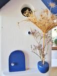 """Houten Nestkastje , """"Nestkastje in Grieks blauw, Details, Vogelhuisje bouwen , vogelhuisje in Grieks blauw, Huisjes details"""