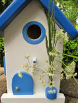 """Houten Nestkastje , """"Nestkastje in Grieks blauw, Details, Vogelhuisje bouwen , vogelhuisje in Grieks blauw, Huisjes details_16"""