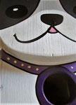 Houten Nestkastje Hond, zwart-wit, Details, Vogelhuisje bouwen, voorkant, kop met halsband_1