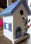 """Houten Nestkastje , """"Nestkastjes in Grieks stijl, Details, Vogelhuisje bouwen ,  zijkant vogelhuisje in Grieks e stijl, lichtblauw model 2_1"""