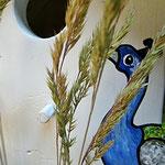 Houten Nestkastje, Nestkastje met Pauw, Details, Vogelhuisje bouwen ,  vogelhuisje met pauw_12