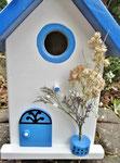 "Houten Nestkastje , ""Nestkastjes in Grieks stijl, Details, Vogelhuisje bouwen ,  voorkant model 1 vogelhuisje in Grieks e stijl, lichtblauw"